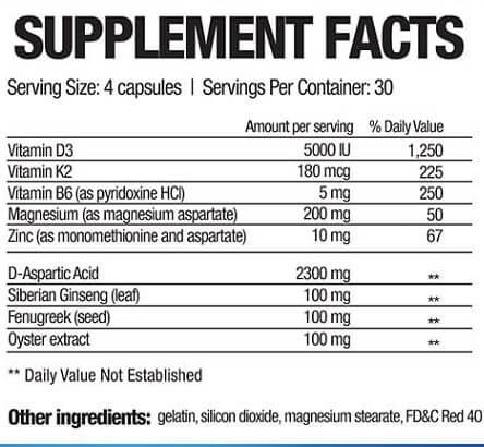 testofuel ingredients list
